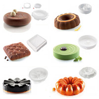 1 Pc Variety Pattern Flower Round Shaped Silicone Mold Cake Pans Baking Tools Mousse Chocolate Dessert Mould Pastry Decoration