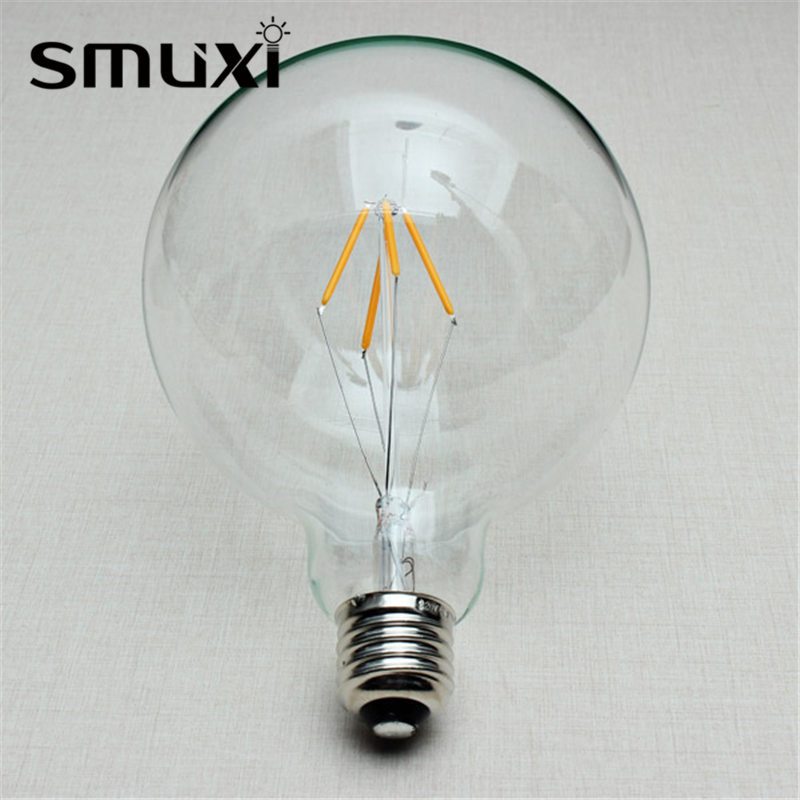 Smuxi Retro Edison Bulb E27 G125 4W COB LED Light Filament Lamp Globe Bulb Clear Glass Shell Indoor Chandelier Lighting AC220V high brightness 1pcs led edison bulb indoor led light clear glass ac220 230v e27 2w 4w 6w 8w led filament bulb white warm white