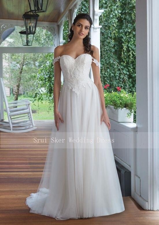 Image 3 - Backless Lace Wedding Dress Off the Shoulder A Line Gowns Appliques Bridal Dresses Button Back Tulle Dress-in Wedding Dresses from Weddings & Events