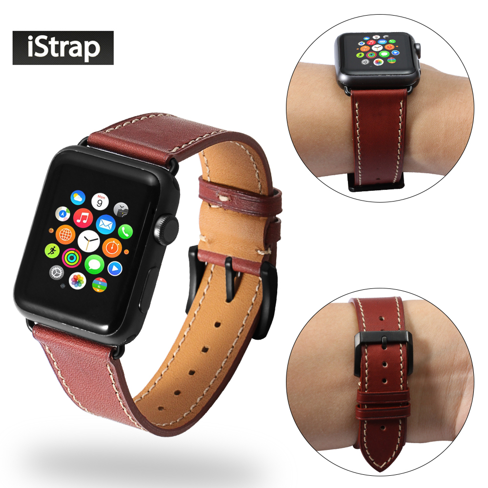 iStrap Genuine Leather Replacement Band For Apple Watch Series 1 and 2 Watch Strap Black Buckle Adapter For iWatch 38mm 42mm