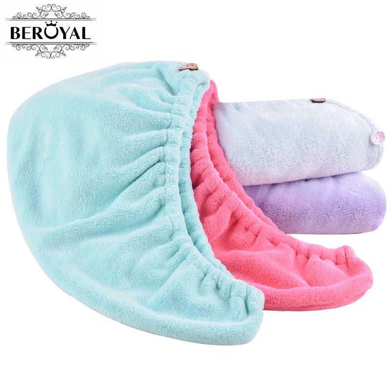 Beroyal stałe mikrofibry włosy ręcznik kobiet dziewczyny magia suszenia Wrap ręczniki Hat Cap szybkie suszarka kąpieli ręcznik Salon