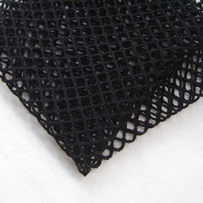 Moda Branca de Poliéster Spandex Tecido de Malha Stretch Estilo Británico Xadrez Preto Oco Tecido Líquido Pano de Costura Tissu tecidos Venda Quente