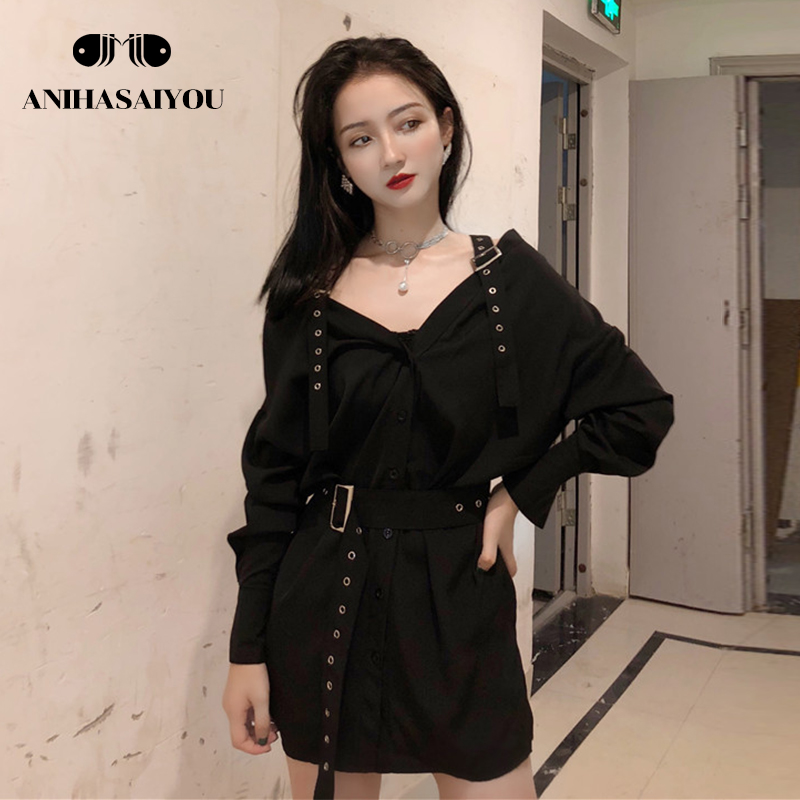 Fashion Top Vintage womens tops and blouses Sling off-the-shoulder belt Long sleeve length Blouse Black off shoulder top Autumn