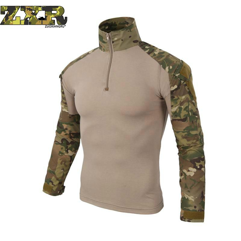 Tactical camouflage Long Sleeve   T  -  Shirts   For men Gear Army Men Soldiers Combat Military Force Multicam Camo hunter clothes