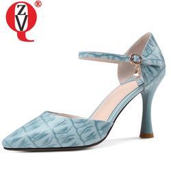 ZVQ/небесно-голубые женские туфли-лодочки из натуральной кожи с принтом, летние туфли из двух частей на очень высоких шпильках 8,5 см