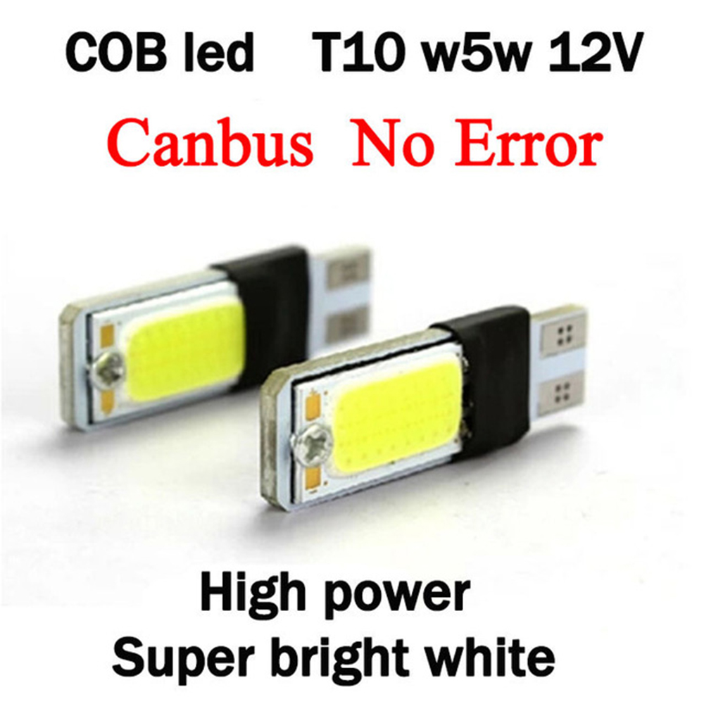 t10 w5w led cob canbus 2pcs/pair Clearance external lights bright error free t 10 5w 12v parking auto 5w5 Lamp car styling KQ