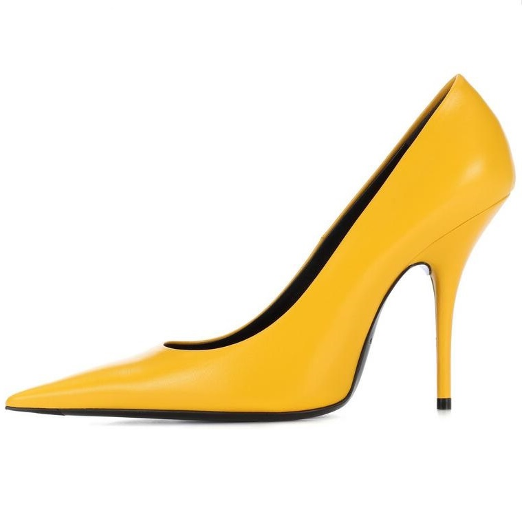 Sexy Pointy Toe Yellow Patent Leather Women Pumps Big Size 10 Thin Heels Dress Shoes Shallow Spring Autumn High Heeled Pumps spring autumn women pumps mules shoes patent leather casual fashion slip on pointed toe big size lazy shoes shallow thin heels