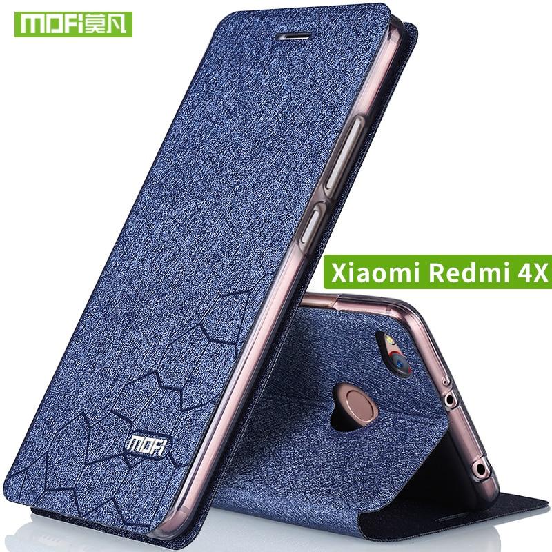 Xiaomi Redmi 4X funda abatible de cuero Xiami Redmi 4x funda de silicona TPU trasera Original MOFi redmi4x funda de metal duro 5,0 capas