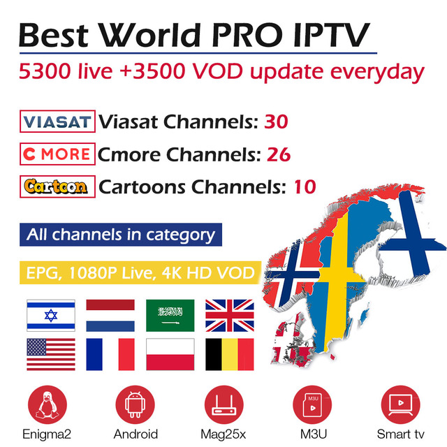 Mundial PRO IPTV suscripción árabe israelí holandés Reino unido España Suecia nórdicos IPTV para X96mini android tv box IPTV M3u inteligente caja de tv