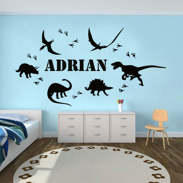 jurassic park dinosaur footprint personalized name vinyl wall
