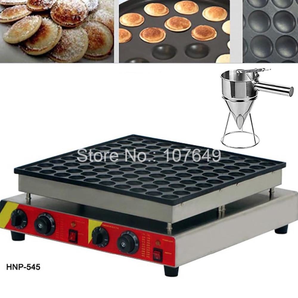 100pcs Commercial Use Non-stick 110v 220v Electric Poffertjes Mini Dutch Pancake Machine Maker Iron Baker + Batter Dispenser 2 in 1 non stick lpg gas dutch mini pancakes poffertjes dorayaki maker machine baker batter dispenser