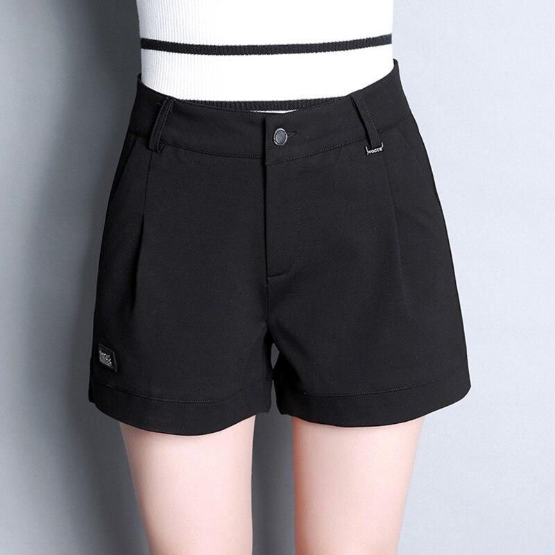 SHINYMORA Automne Casual Shorts pour Femmes Coton Short Bureau Dame OL  Style Pantalon Court Noir Solide Couleur Sexy Shorts Chauds femelle dans Shorts  de ... d49e282396c