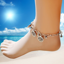 Bohemian Style Retro Silver Carved Flower Anklets Round Coins Bell Tassel Bracelets & Bangles For Unisex Jewelry Free Shipping