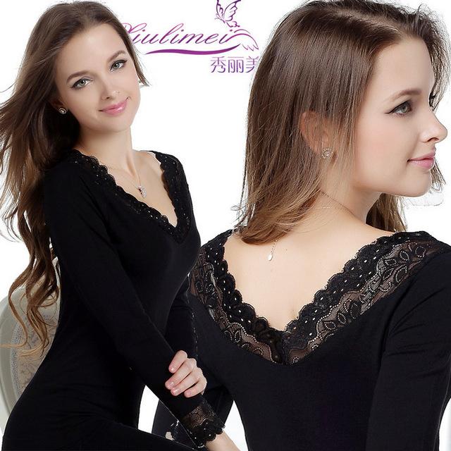 Venta al por mayor 2016 nuevo cordón Modal pijamas mujer dormir seamless doble cuello en v mujeres la ropa interior térmica ropa interior de mujer