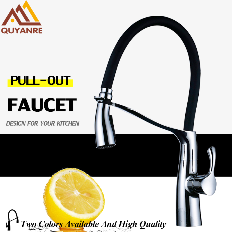 Quyanre Kitchen Faucet Brass Chrome Rubber Kitchen Sink Faucet Pull-out Dual Function Sprayer Single Handle Mixer Tap Faucet newly arrived pull out kitchen faucet gold sink mixer tap 360 degree rotation torneira cozinha mixer taps kitchen tap