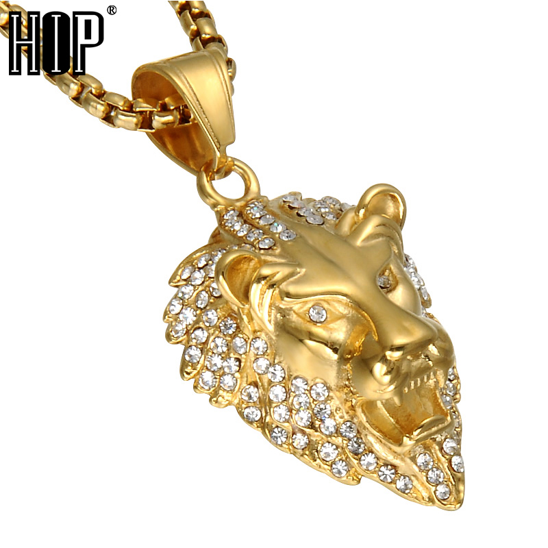 HIP Hop Gold Color Lion Head Men Pendant & Necklace Ice Out Bling Animal Stainless Steel Titanium Necklaces Jewelry ...