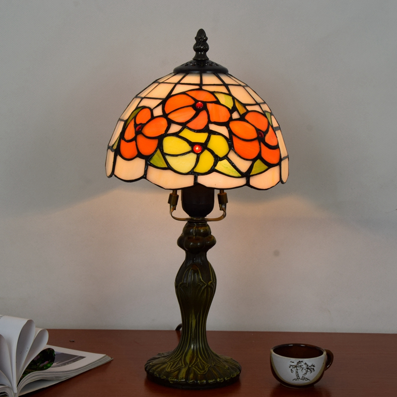 Originality color glass Flower of wealth desk lamp American Pastoral countryside Warm colors Decorative light 110-240V 20CM originality stained glass garden flower desk lamp american pastoral countryside hotel barbedside led lamp 110 240v dia 20cm