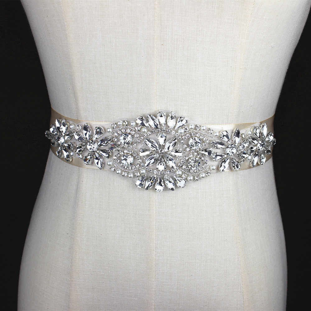 Silver handmade Rhinestone Applique Bridal Belt Crystal Wedding Sash Belt  With beaded Pearl For Wedding Evening 73f7706d1f96
