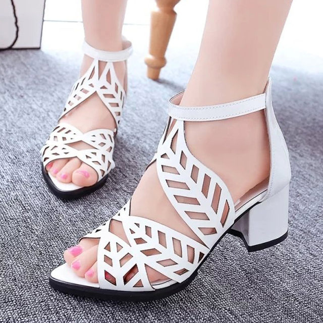 677052517aaf Women sandals Fashion ankle wrap sexy cutout zipper sandals summer square high  heel rhinstone open toe sandals beach shoes