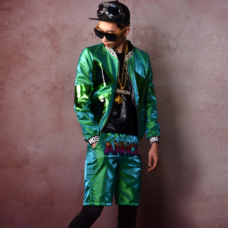 Hommes Hip Hop Baseball Veste 2 ensembles (veste + shorts) mâle Mode Manteau Discothèque Chanteur DJ Danseur Stage Show Vêtements Uniformes