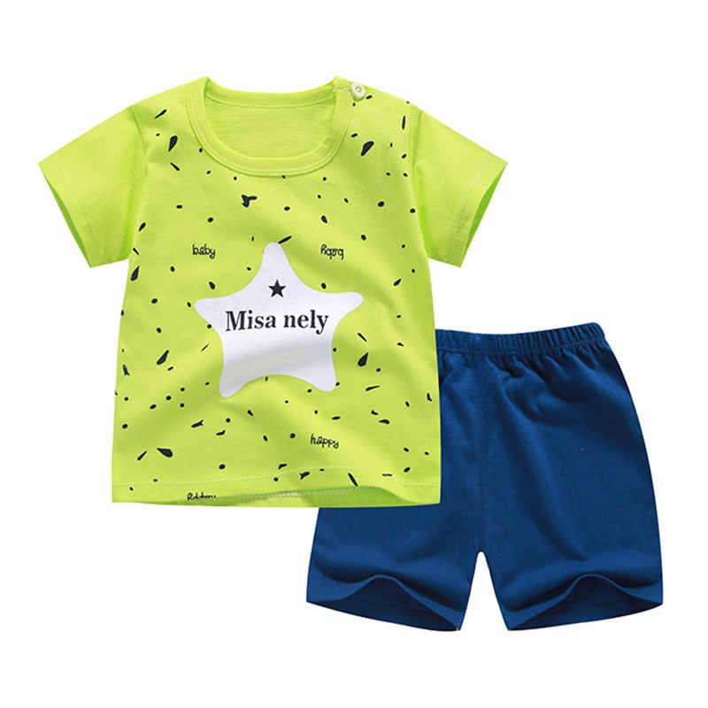 Áo Thun 2019 Cotton + Quần Ngắn Bé Trai Bé Gái Trẻ Em Bộ Quần Áo Phục Thời Bebes Phù Hợp Với 6M Đến 7 tuổi 2 Set