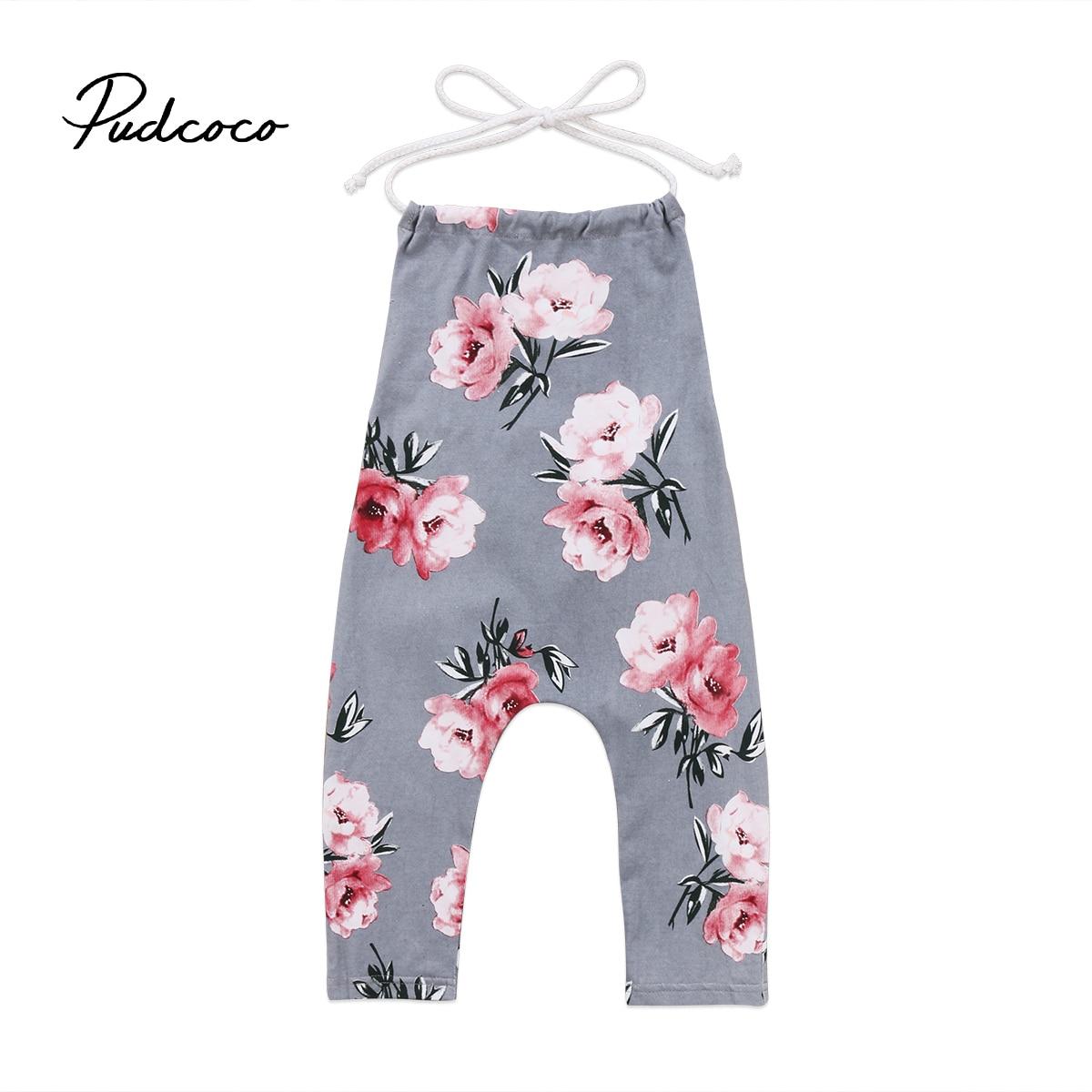 2018 Brand New Sleeveless Toddler Infant Child Kids Baby Kids Girl Flower Halter   Romper   Jumpsuit Playsuit Strap Clothes 6M-6T