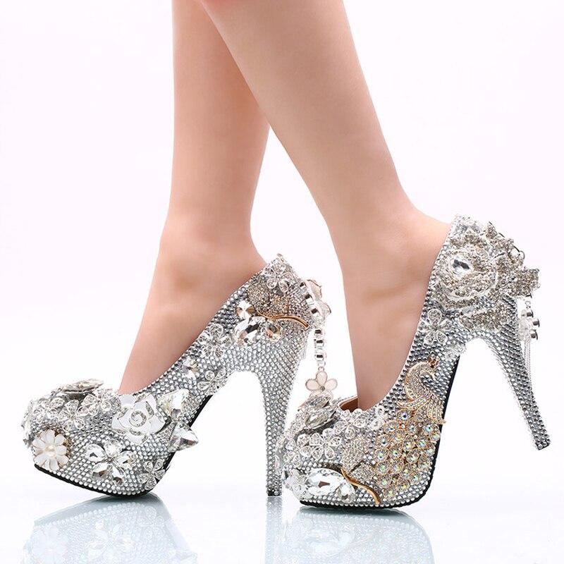 화려한 실버 라인 석 웨딩 신발 로즈 플라워 크리스탈 웨딩 연회 파티 신발 신데렐라 댄스 파티 펌프 플러스 사이즈 12-에서여성용 펌프부터 신발 의  그룹 3