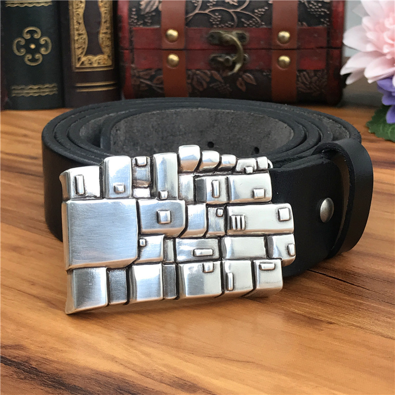 Metal Belt Buckles For Men Luxury Ceinture Homme Genuine Leather Belt Men Cowboy Jeans Male Strap Riem Wide MBT0590