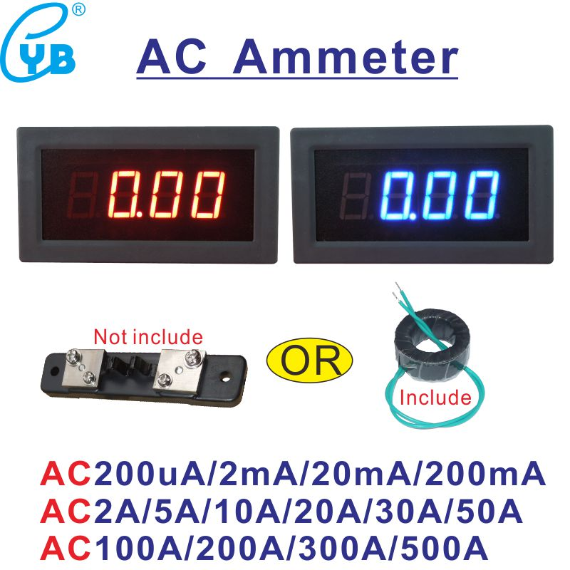 Yb5135b Ac Current Meter Led Digital Ampere Meter 20ma 200ma 2a 10a 50a 100a 200a 300a 500a Micro Ammeter Amp Panel Meter 3 1/2 Novel In Design;