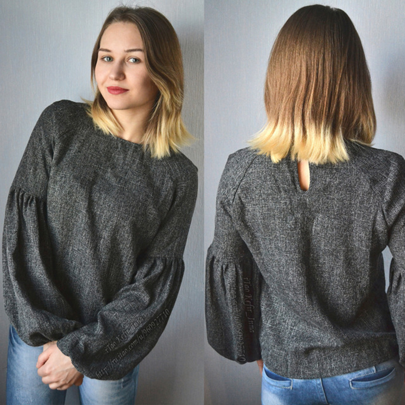 HTB1qpKvQXXXXXXEXpXXq6xXFXXXu - Women Shirt Ladies Grey Lantern Long Sleeve Blouse