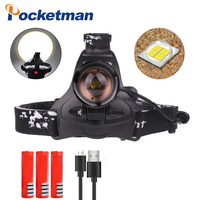 XHP70 Headlight 40000lm powerful Led headlamp zoom Lantern usb rechargable flashlight torch Head light for 3*18650 battery