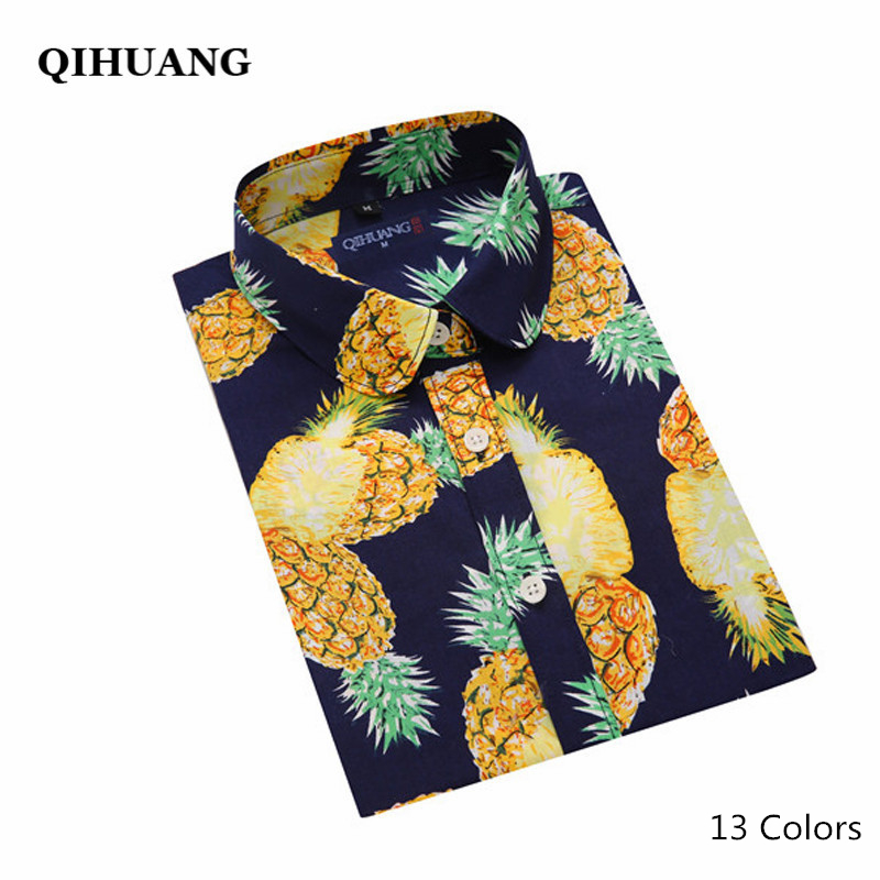 QIHUANG Plus Size Women Shirt Bluse 13 Colors Fashion Ananas Floral Print Shirt Långärmad tröja Women Tops and Blouses