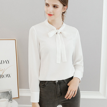 Latest Women Chiffon Blouse Fastional Casual Blouse Shirt Chiffon Blouse Full Sleeve O-Neck Solid Blouse For Summer фото