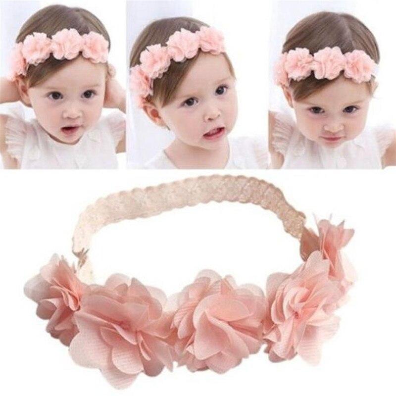 ISHOWTIENDA New Baby Flower Headband Pink Ribbon Hair Bands Handmade DIY Headwear Hair accessories for Children Newborn Toddler