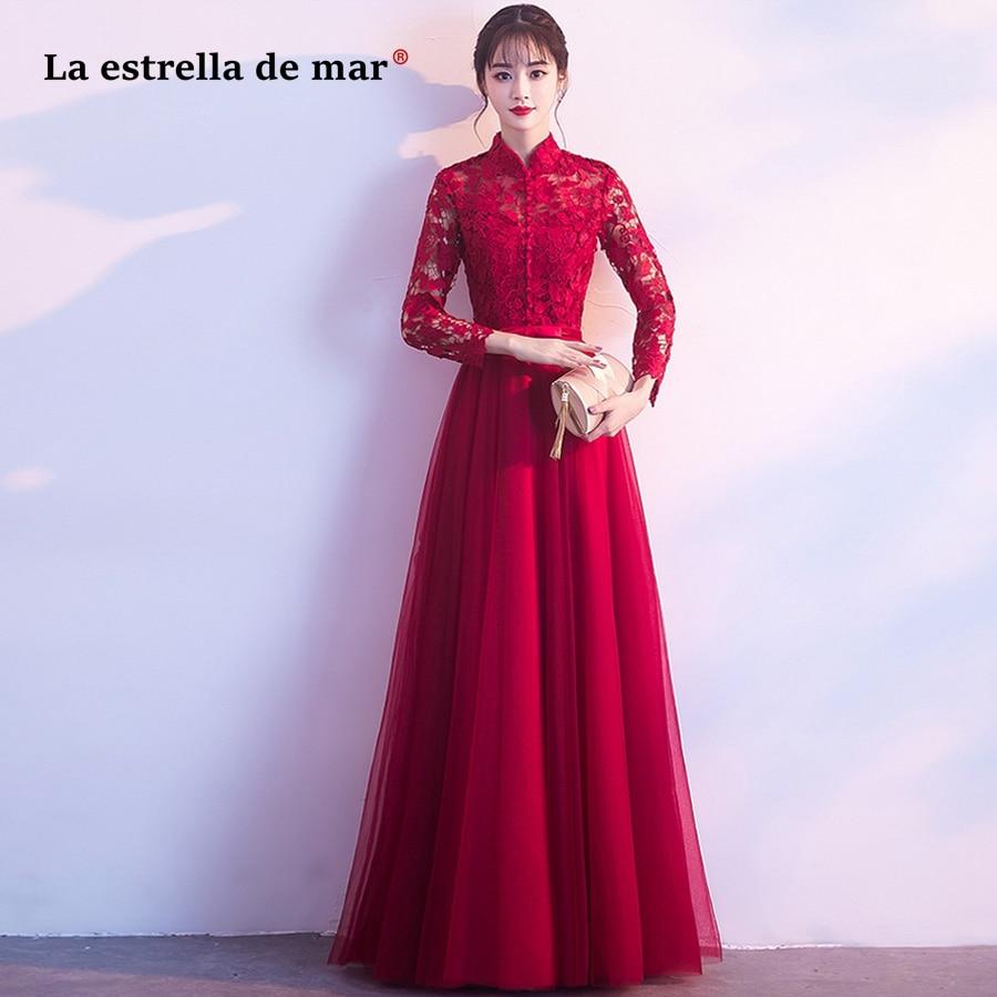 Vestido De Madrinha De Casamento Longo2018 High Neck Lace Long