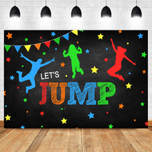 NeoBack Let's Jump Trampoline Birthday Backdrop Bounce House for Children Birthday Celebration Decoration Photography Background цена в Москве и Питере