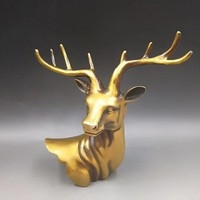 Бесплатная доставка, античная бронза мини голова оленя настенный украшения