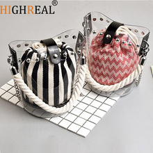 Brand High Quality Bucket Tote Summer Beach Clear Straw Rope Handle Pvc Small Transparent Jelly Messenger Bag Shoulder