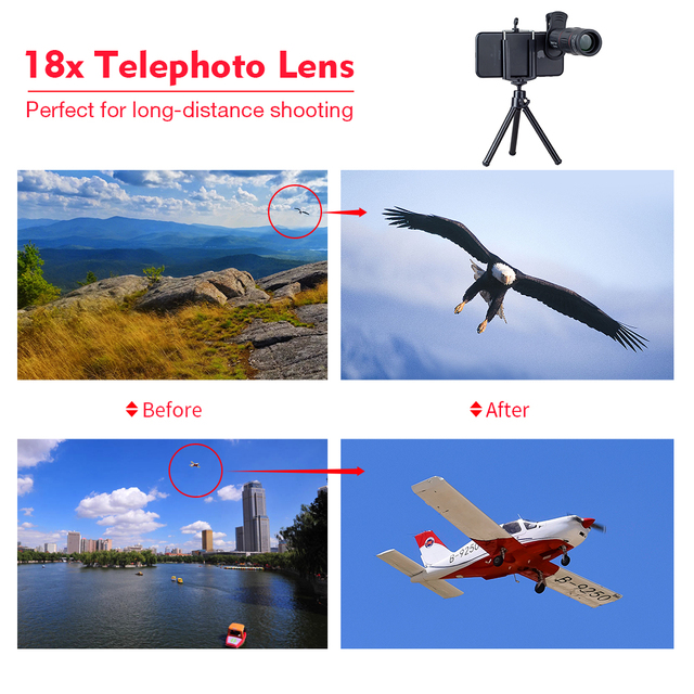 APEXEL 18X Telescope Zoom lens Monocular Mobile Phone camera Lens for iPhone Samsung Smartphones with tripod Hunting SportsT18ZJ 2
