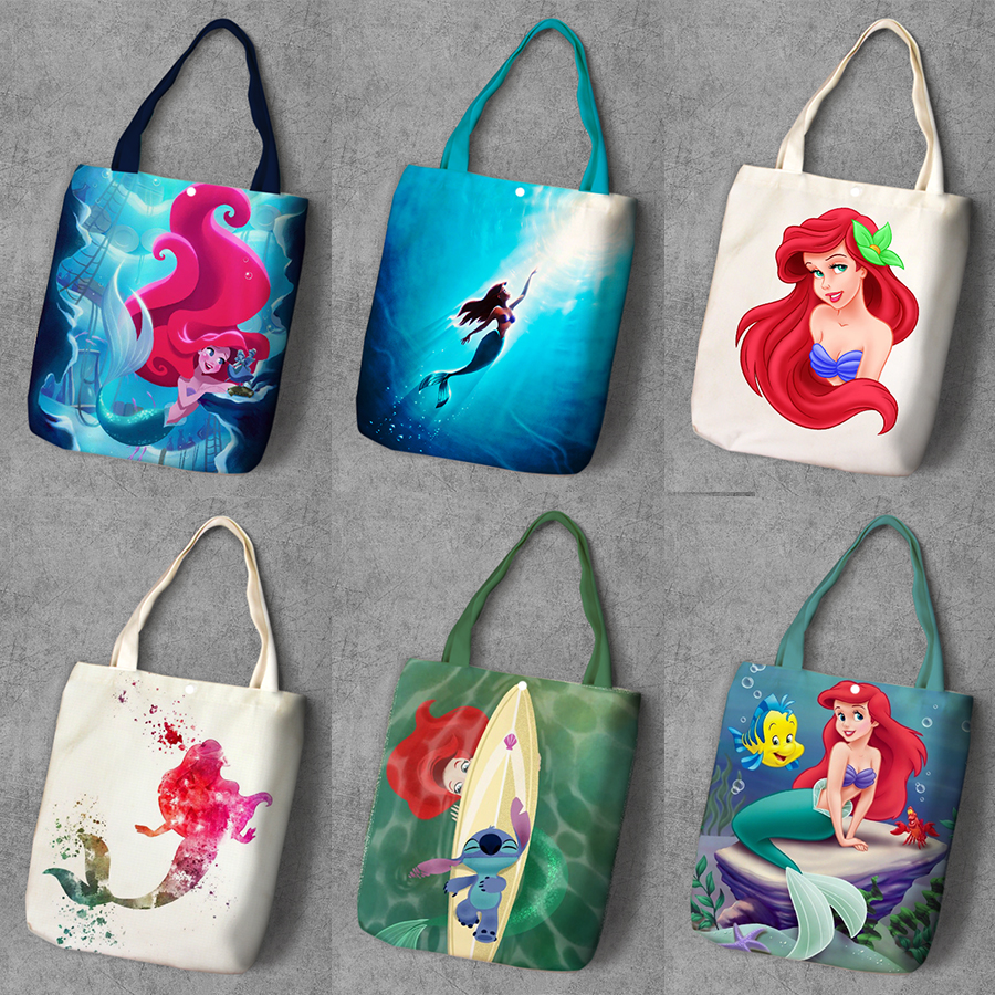 Mermaid Ariel Cartoon Printed Canvas Recycle Shopping Bag Large Capacity Customize Tote Fashion Ladies Casual Shoulder Bags