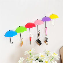 Fashion 6Pcs Colorful Umbrella Wall Hook Key Hair Pin Holder Organizer Decorative Organizer Umbrella Shaped Holder Organizer(China)