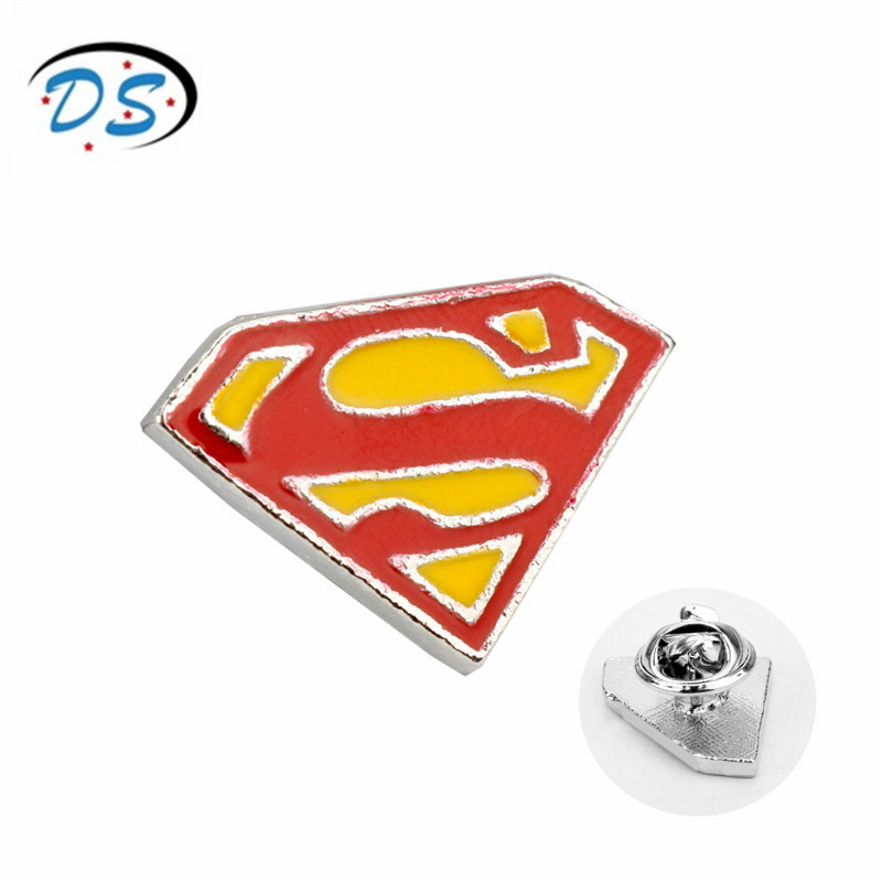 dongsheng jewelry Superman Brooch pins Alloy Lapel Pin Men Brooches for Women Fashion Accessories enamel pin