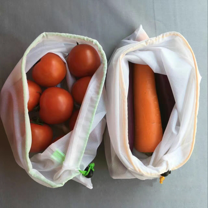 10Pcs Set White Premium Polyester Mesh Kitchen Fruit & Vegetable Storage Bags Reusable Produce Black Rope Mesh Bags