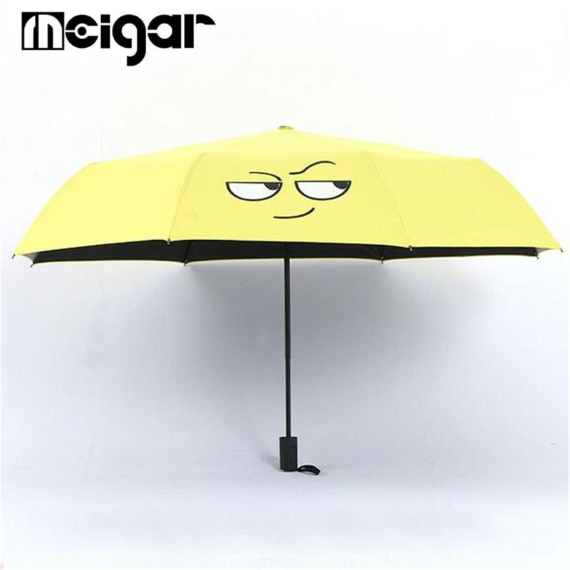 cute yellow funny umbrella folding compact parasol anti uv windproof paraguas bumbershoot kids. Black Bedroom Furniture Sets. Home Design Ideas