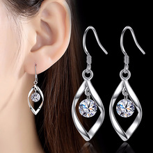 Silver 925 Earrings for Women Fashion Jewelry Water Drop Earring with Stone Brincos Femme Wedding Party Accessories Gifts everoyal trendy lady water drop black hoop earrings jewelry fashion 925 sterling silver earring for women princess accessories
