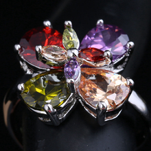 2016 Fashion 4 Petal Plum Blossom Multicolor Morganite Garnet Women's Party Jewelry 925 Sterling Silver Rings Size 6 7 8 9 S1653