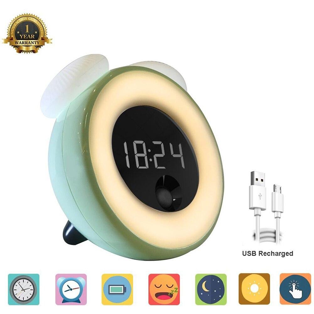 Wake Up Light Alarm Clock Night Lamp Usb Rechargeable
