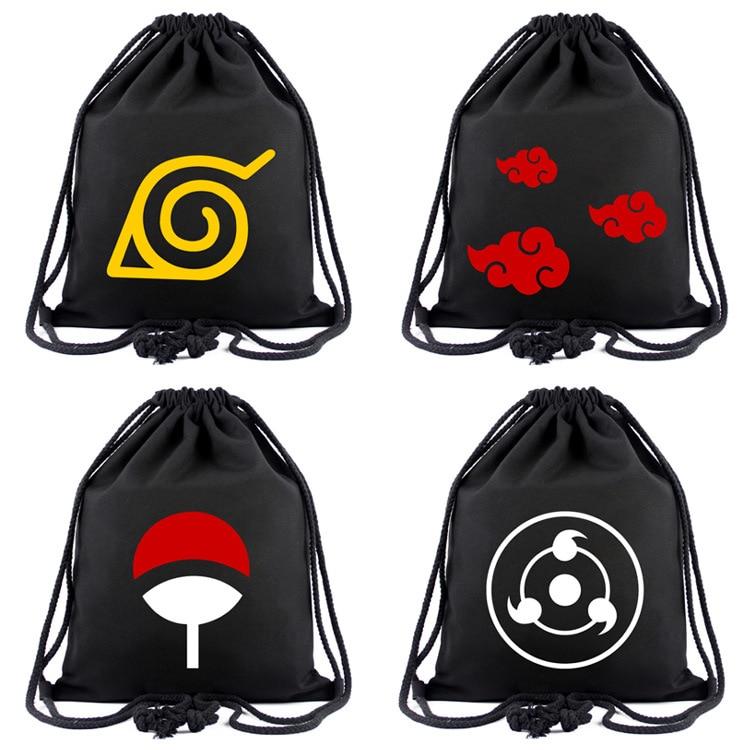IVYYE Naruto Style Fashion Canvas Backpacks Cartoon Drawstring Backpack Casual String Bags Shopping Knapsack Unisex New