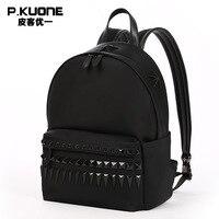 P KUONE Luxury Brand Canvas Men S Rivet Backpack High Quality Notebook Bag New Design Messenger