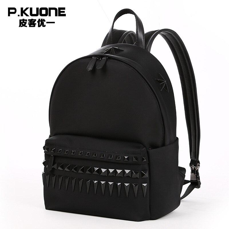 Buy P.KUONE Hot Sell Canvas Women Rivet Backpack Luxury Brand Female Laptop Bag Men's Travel School Shoulder Bag For Teenager Girls